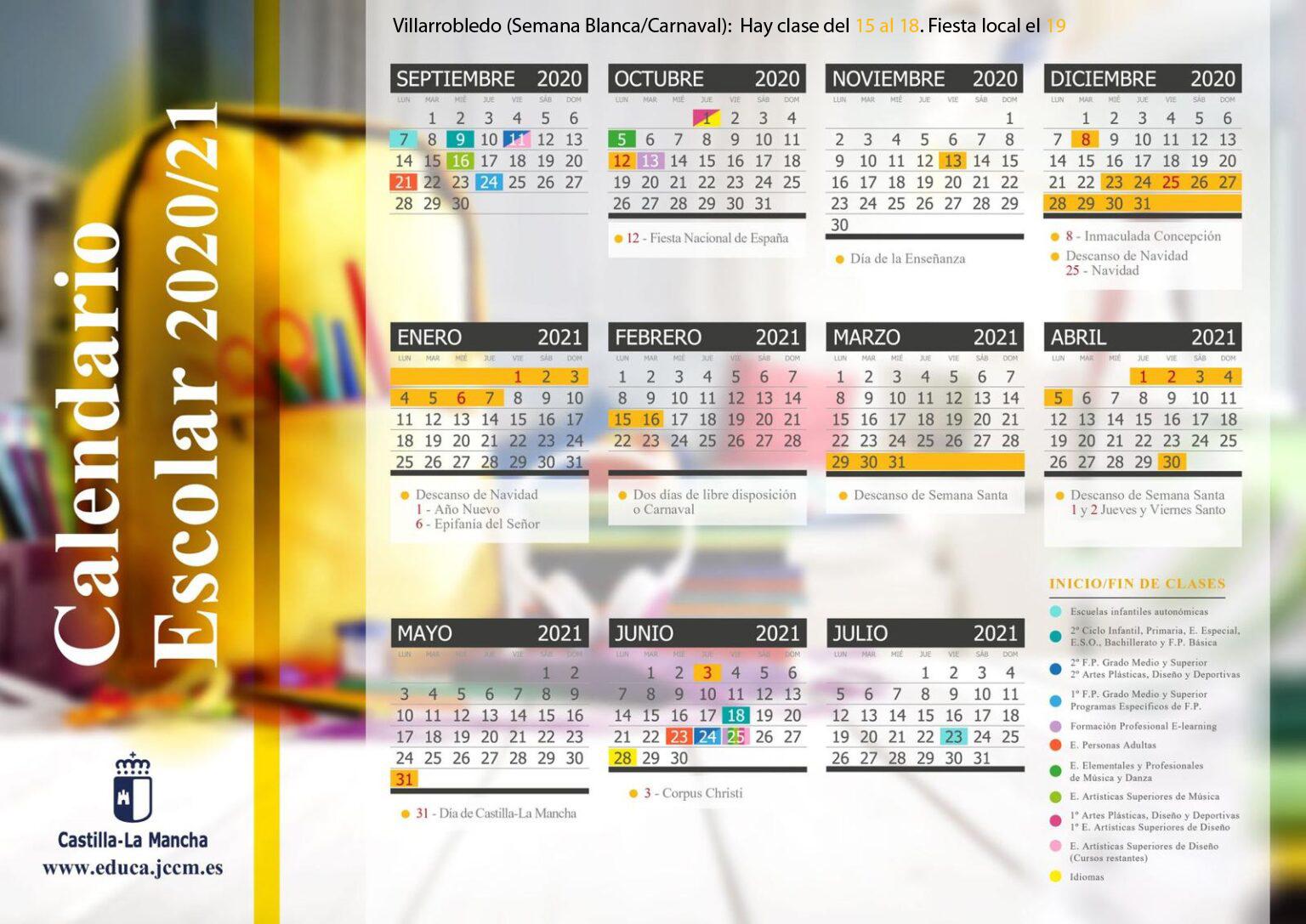 Cambios en el calendario escolar